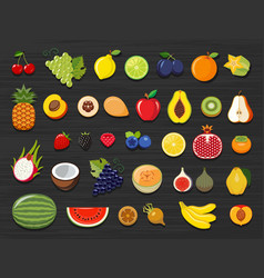 Set of different kinds of fruit icons vector
