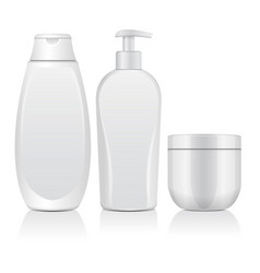 set of realistic white cosmetic bottles tube vector image