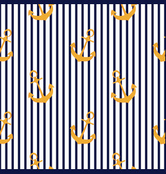 ship anchor seamless striped pattern summer vector image