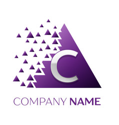 Silver letter c logo in the purple pixel triangle vector