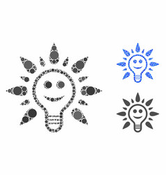 Smile light bulb composition icon round dots vector
