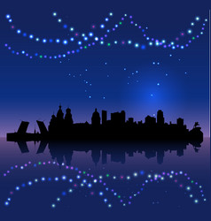 St petersburg silhouete and chritsmas lights vector