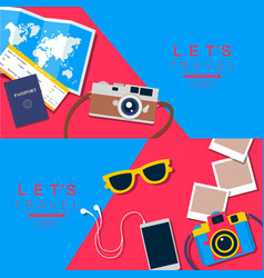 Summer background travel banner layou vector