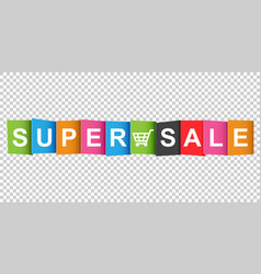 super sale tag discount message flat on white vector image