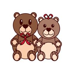 teddy bear couple design vector image