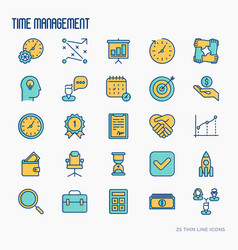 Time management thin line icons set vector