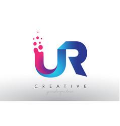 Ur letter design with creative dots bubble vector