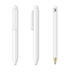 White pen and pencil mockups Corporate vector