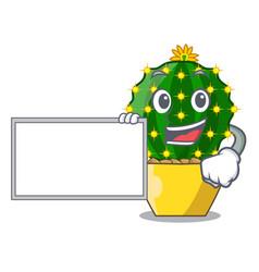 with board mammillaria cactus planted in a cartoon vector image