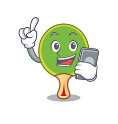 with phone ping pong racket character cartoon vector image