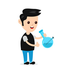 young happy smiling man with bong vector image