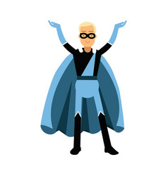 Young smiling masked man in a blue superhero vector