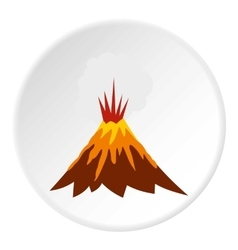 Eruption of volcano icon flat style vector image