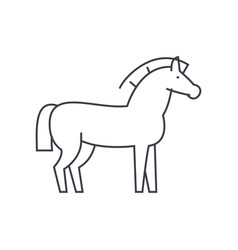horse line icon sign on vector image vector image