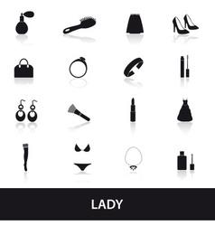 lady stuff needs icons set eps10 vector image