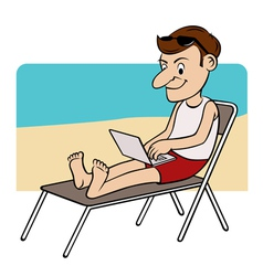 man on beach vector image
