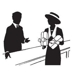 Man selling vintage vector