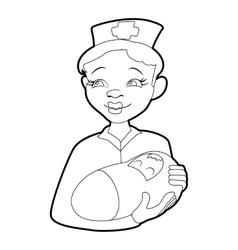 Nurse with a newborn icon isometric 3d style vector image