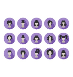 Set of flat icons of hairstyles for woman vector image vector image