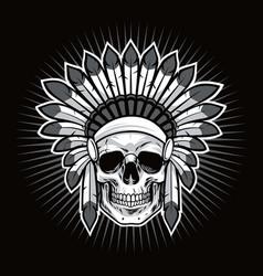 skull of native american indian warrior vector image vector image