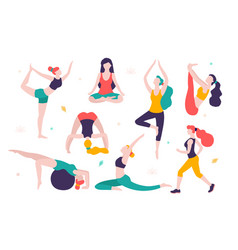 women doing sports different poses of yoga vector image