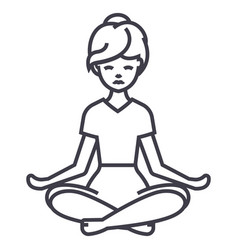 yoga woman line icon sign on vector image