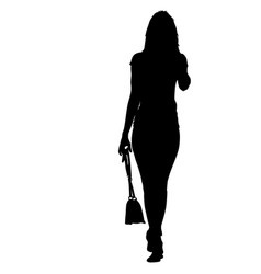 black silhouette woman standing with a bag vector image