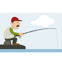 a fisherman holding a fishing pole vector image vector image