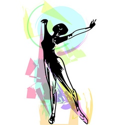 Drawing of Abstract ballerina dancing vector image vector image