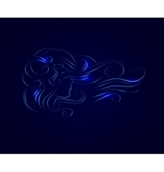 girl hair line silhouette glow vector image vector image