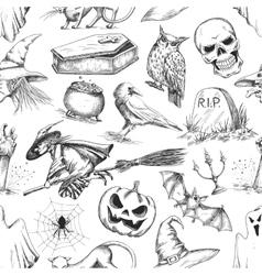 Halloween party symbols pencil sketch pattern vector image vector image