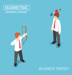 Isometric businessman shoot an apple on colleague vector image