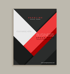 minimal red and black business company brochure vector image vector image