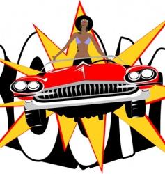 retro car woman vector image