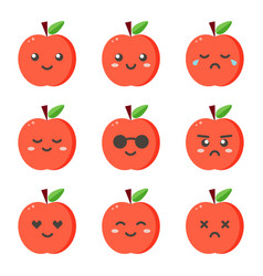 set collection of flat design emoji red apples vector image vector image
