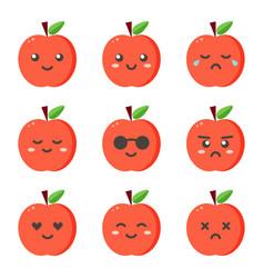 set collection of flat design emoji red apples vector image