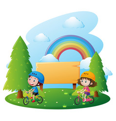 Sign template with two kids on bike vector