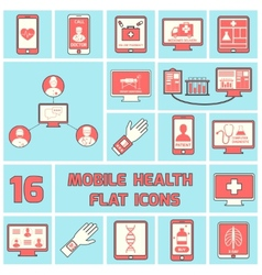 Mobile health icons set flat line vector image vector image