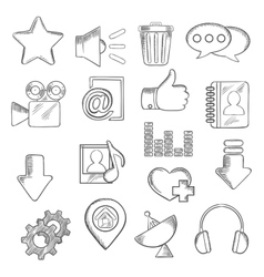 Social media and multimedia icons sketch style vector image vector image