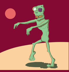 a cartoon zombie with a black eye vector image