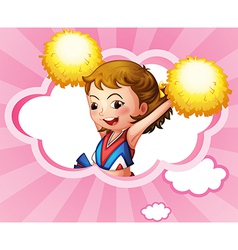 A cheerdancer with yellow pompoms vector