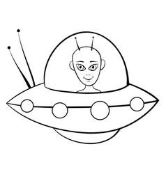 A children coloring bookpage cute alien image vector