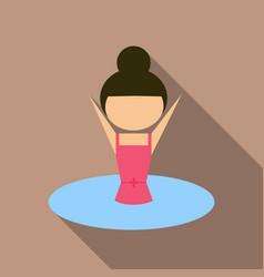 A girl wearing swimwear swimming on background vector