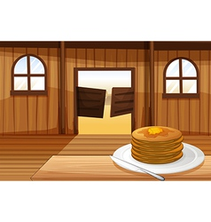 A plate with pancakes vector