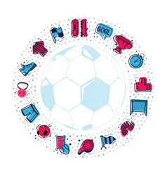 A set of soccer icons and lettering in football vector