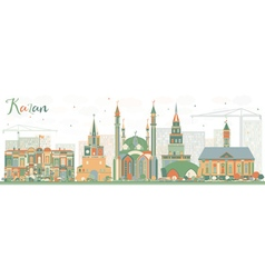 Abstract Kazan Skyline with Color Buildings vector