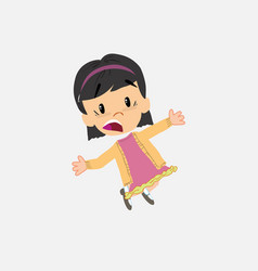 Asian girl jumping terrified vector