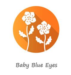 Baby blue eyes orange flat design long shadow vector