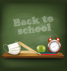 back to school during with pandemic covid-19 vector image