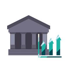 bank growth arrows chart vector image